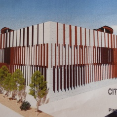 Rear rendering of the storage facility