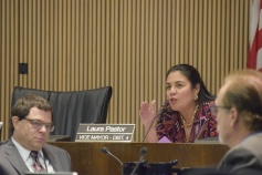 """District 4 Councilwoman Laura Pastor asks about access to the property and the proposed """"community space"""" inside the storage facility Feb. 7."""