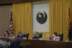 District 3 Councilwoman Debra Stark asks about the Phoenix General Plan during the Phoenix City Council meeting Feb. 7.