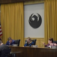 District 3 Councilwoman Debra Stark asks about the Phoenix General Plan during the Phoenix City Council meeting Feb. 7.