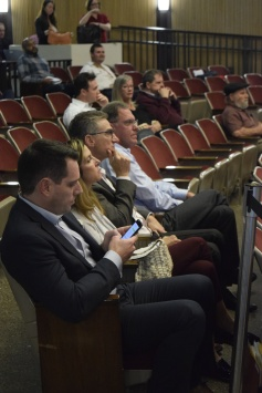 Storage developers Kim and Bruce Raskin (middle) listen to their project being discussed at the Phoenix Council meeting Feb. 7. Background: Mike Poulton (S.A.M.A.), Pam Pawlowski (Grandview) and Charley Jones (C.A.S.A.).