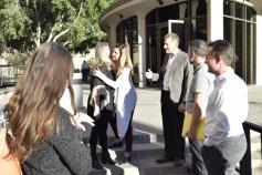 Kim Raskin hugs Melrose activist Pam Pawlowski outside the Phoenix Council Chambers Feb. 7.